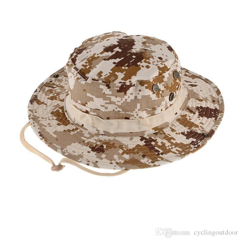 056ff80e4a6 2019 Wholesale Camouflage Hunter Hat Sniper Hidden Jungle Sports Ripstop  Combat Caps Wide Brim Bucket Hat Camping Hiking Head Wear From  Cyclingoutdoor