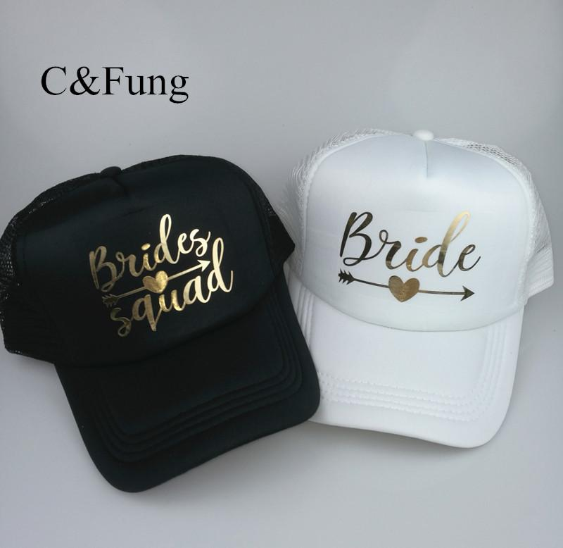 C Fung Personalized BRIDE SQUAD Trucker Hat Arrow Design Gold Print Bridal  Party Hats Baseball Trucker Snapback Beach Cap Hat Fitted Caps Black  Baseball Cap ... 5cb0bae80616