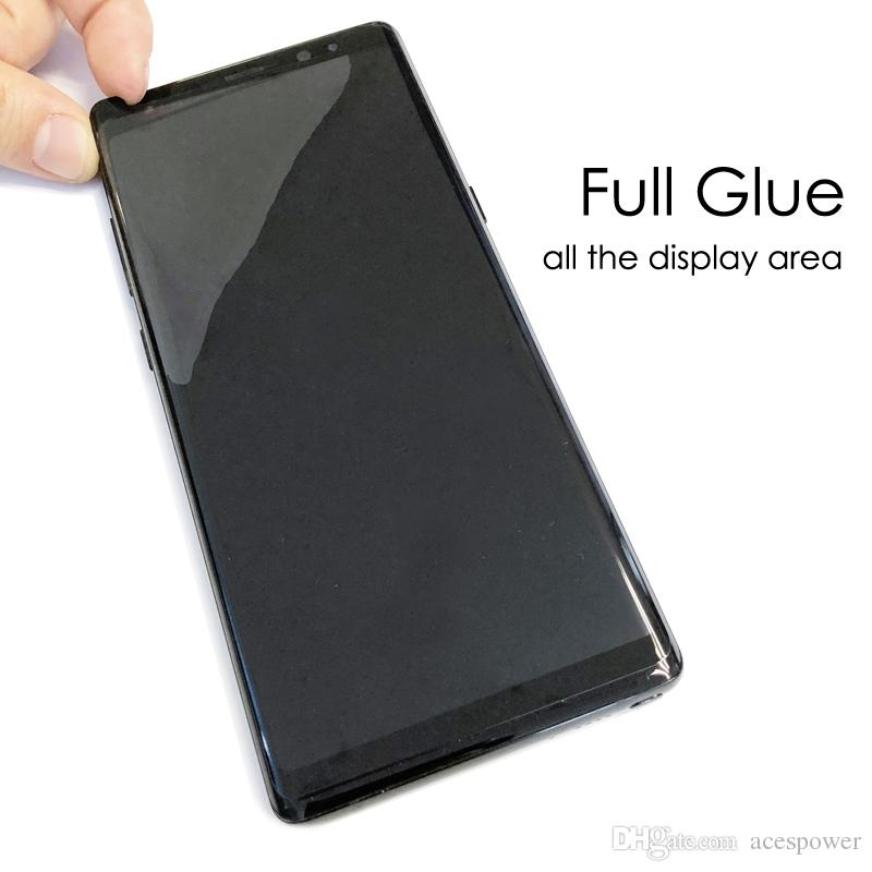 Full Adhesive Glue Screen Protectors Case Friendly Tempered Glass 3D Curved For Samsung Galaxy S21 S20 Ultra S10 S9 Note 10 9 S8 Plus Oneplus