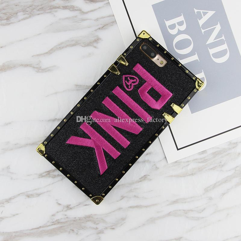 Luxury Fashion Glitter 3D Embroidery Love Pink Shockproof TPU Case Cover For iPhone XS Max XR X 8 7 6 Plus Samsung Galaxy S10 E S9 S8 Note 9