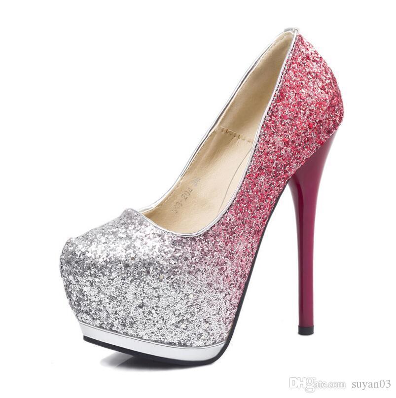 Women Pumps Fashion Gradient Color Sequins High Heels Single Shoes ... ddfce7853769
