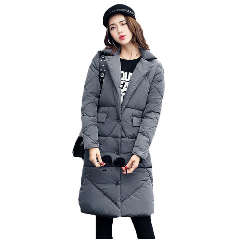 d02706e8a 2019 2017 Fall Winter Women S Long Down Jackets Korean Slim Cotton ...