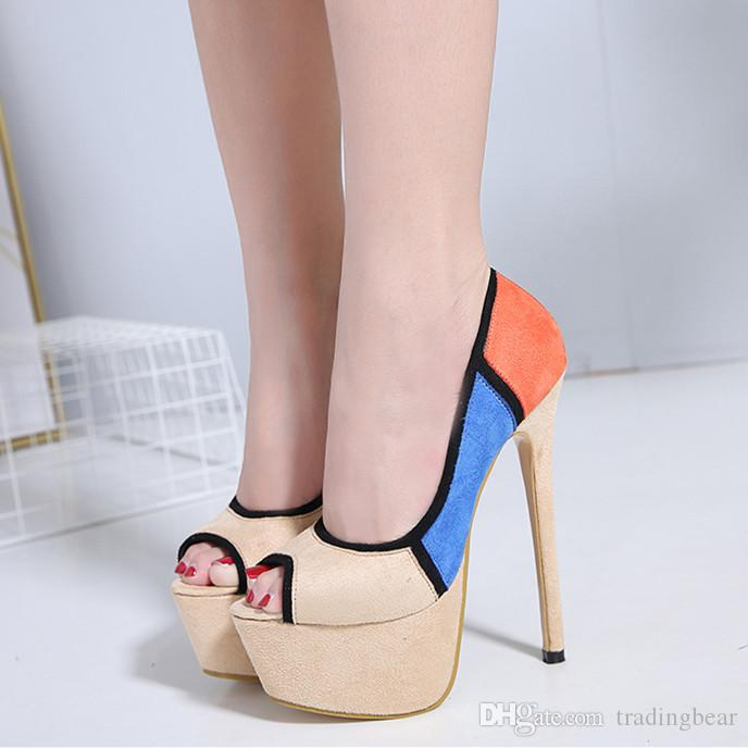 ce409a4349bb 2019 Sexy Women Mixed Color Peep Toe High Heels Platform Pumps Synthetic  Suede 16cm Size 35 To 40 Munro Shoes Vegan Shoes From Tradingbear