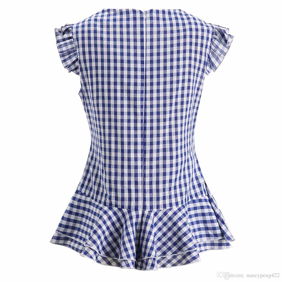 Summer Plaid Ruffles Peplum Tops pour les femmes sans manches noir et blanc rose bleu chemisier chechered chemises bureau dames vêtements de travail vêtements