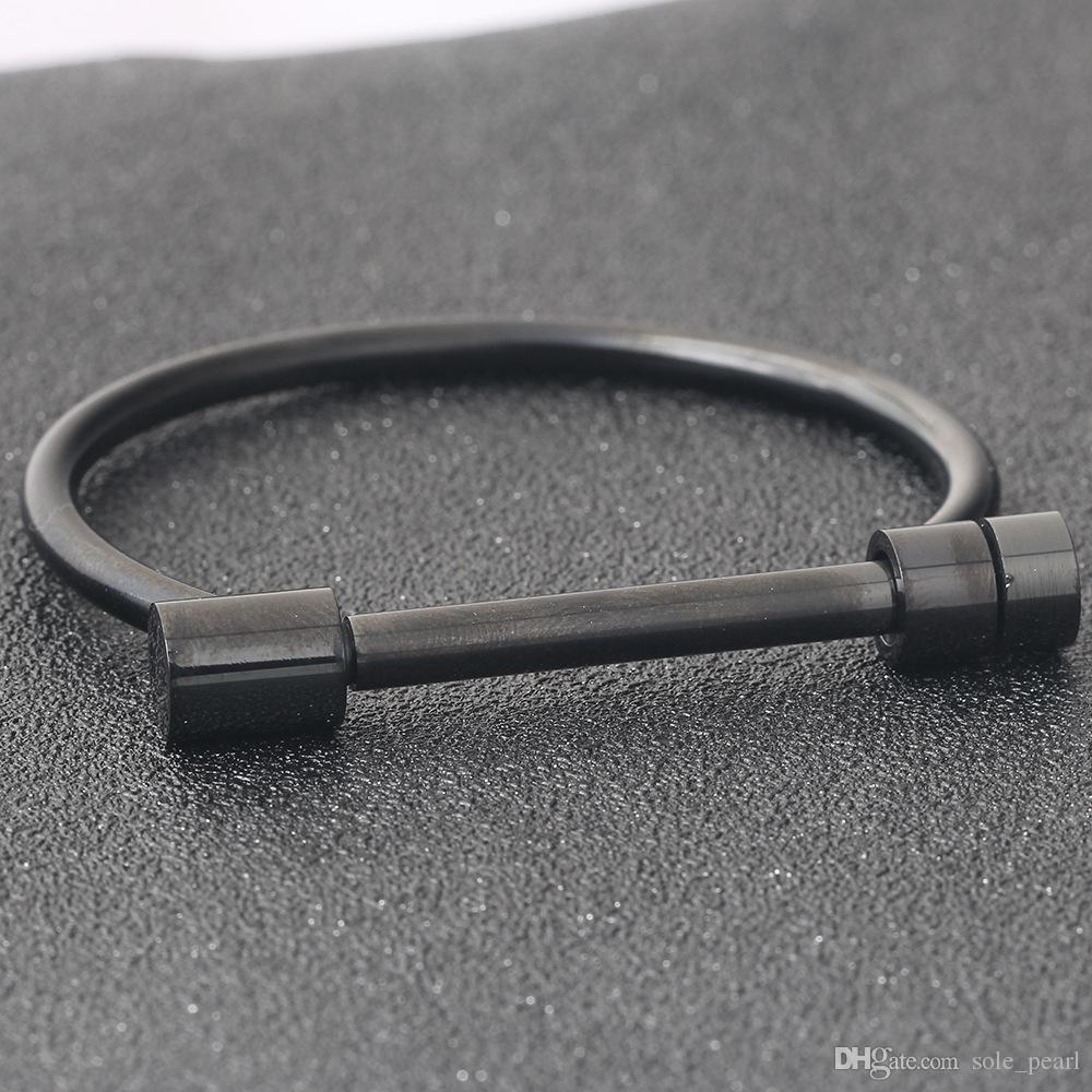 Novas pulseiras tipo Aberto pulseiras 2018 nova moda Pulseiras de aço inoxidável para mulheres homens Jóias de prata ouro atacado D forma Pulseiras
