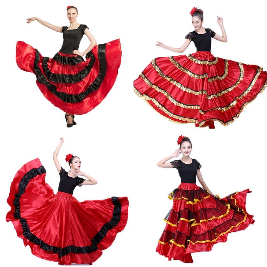4556ccd2f1877f Plus Size Lady Costumes De Danse Jupe Flamenca Espagnol Vêtements pour  Femmes Rouge Noir Concours De Corrida Espagnol Vêtement De Danse Du Vêtement