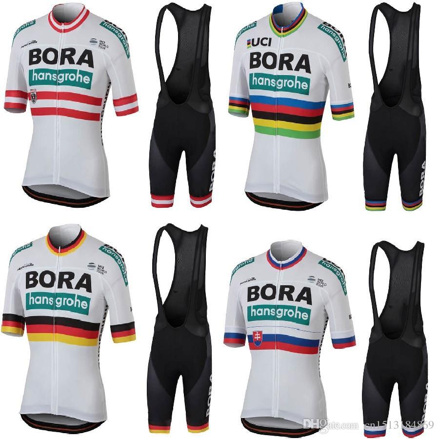 7f06f9fba Bora Hansgrohe 2018 World Champion Short Sleeve Cycling Jersey Bib Shorts  Kit Ropa Ciclismo Breathable Bicycle Clothing MTB Bike Jersey Set Biking  Clothes ...