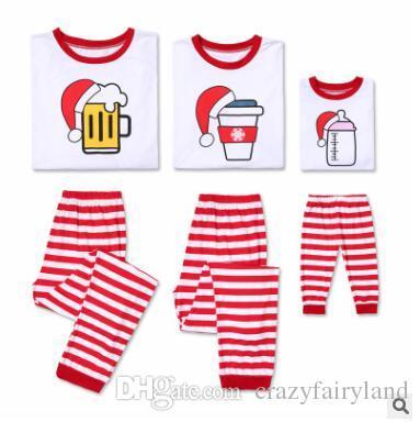 5b979c782 Christmas Pajamas Family Matching Outfits Coffee Beer Nursing Bottle ...