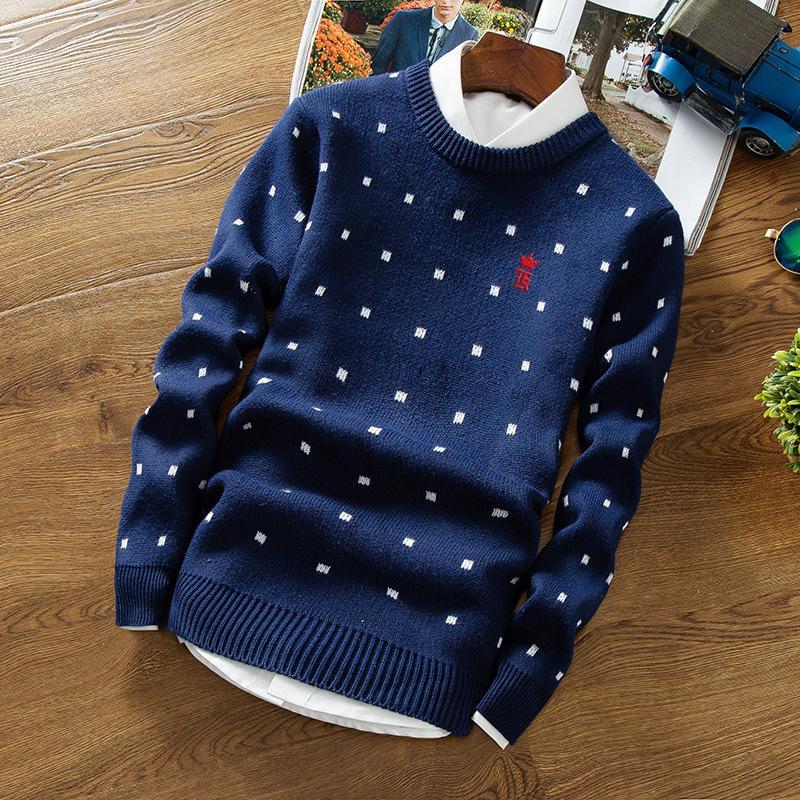 50f71bf6d Compre Sergio K Camisola Homens Pullover V Neck Homens Camisa De Manga  Longa Mens Blusas De Lã Impressão Ocasional Dots Vestido Marca Cashmere  Malhas ...