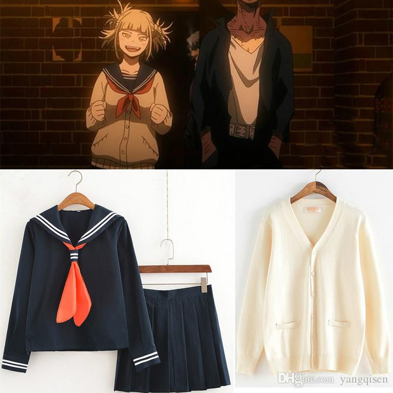 My Hero Academia Himiko Toga Costume Japanese Anime Cosplay Suit School  Girl JK Uniform Sweater Cardigan Clothes Anime Costumes For Rent Womens  Cosplay ... 218236caae