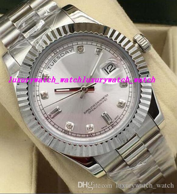 Luxury Watches 5 Style 41mm Mens 18kt White Gold DayDate Silver DIAMOND 118239 Automatic Fashion Brand Men's Watch Wristwatch