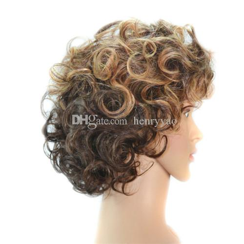 Synthetic Wig Short Natural Blonde Ombre Brown Hair Wigs Fashion Cheap Side Bang for Women Heat Resistant Hair