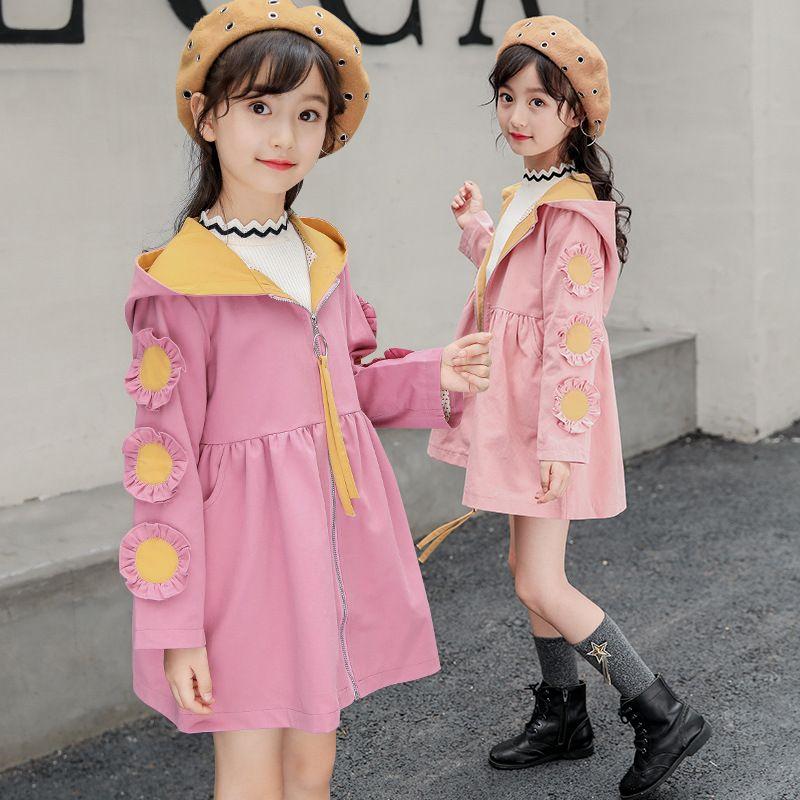 9b6e3e691921 Girls Windbreaker Jacket Long Section 2018 Big Boy Spring And Autumn ...