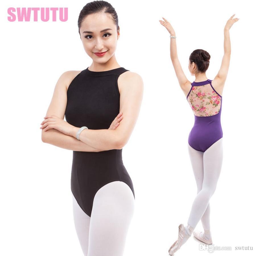 c3e6d5636 2019 Sexy Turtleneck Sleeveless Women Ballet Leotards Dance ...