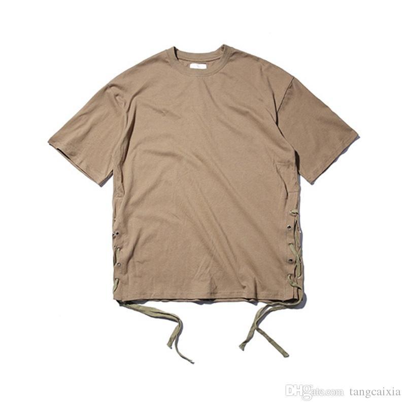 New Design men summer high street cotton short sleeve loose string hip hop t shirt tee fashion tops