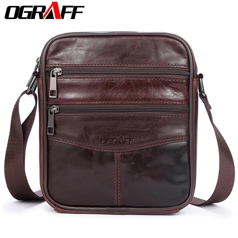 Ograff Men Bag Small Shoulder Bags Handbags Genuine Leather Bags Men