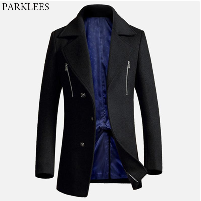 512d2ad1aeb 2019 Luxury Black Cashmere Coat Men 2018 Winter New Men'S Long Wool Trench  Coats Single Breasted Slim Fit Pea Coat Male Overcoat XXXL From Meicloth