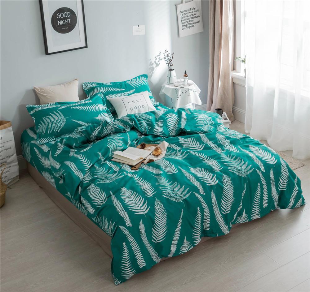 Acheter Maison Textile Feuille Fraiche Ensemble De Literie Vert Roi