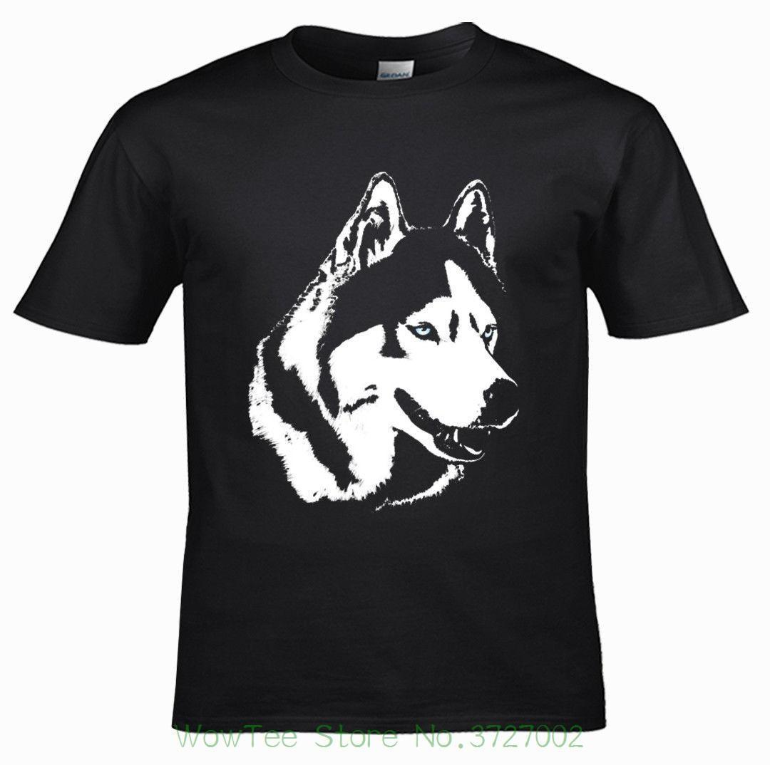 Husky Shirts , Husky Sled Dog Gift Black Design T Shirt T-shirt Male Hipster Tops