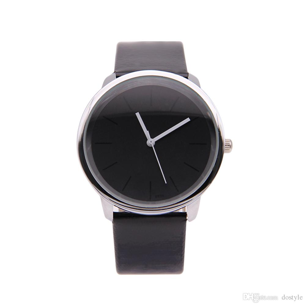 Reloj de pulsera elegante para mujer Reloj de pulsera analógico redondo de cuero con esfera negra para mujer. Reloj de pulsera de cuarzo para hombre PUPUG