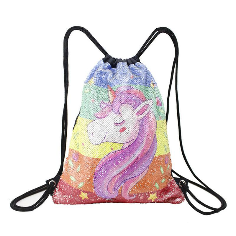Satın Al Unicorn Boyama Ipli çanta Sequins Sırt çantası Sihirli Geri