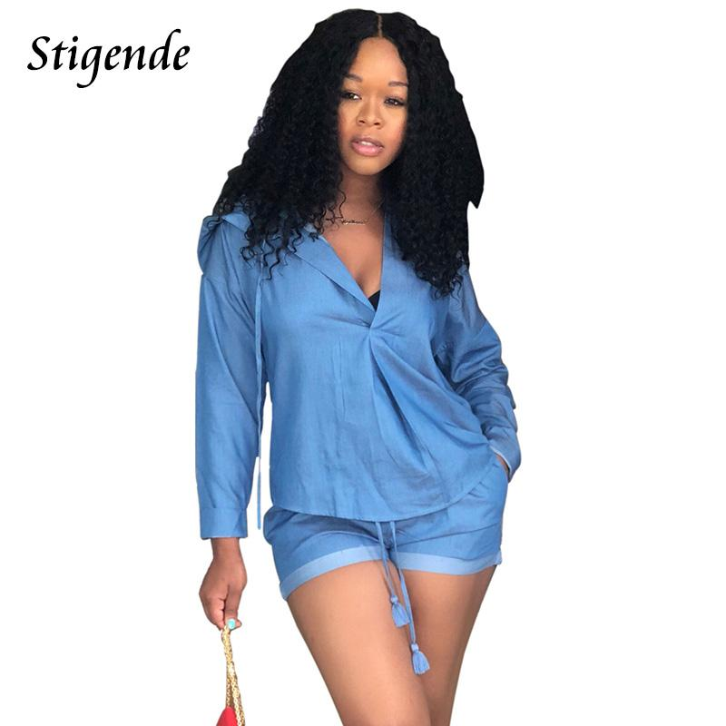 7a1b16b205a 2019 Stigende PLUS SIZE Sexy Short Set Women Jeans Denim Sets Long Sleeve  Hooded Top And Shorts Pants Two Piece Set Outfits From Bevarly