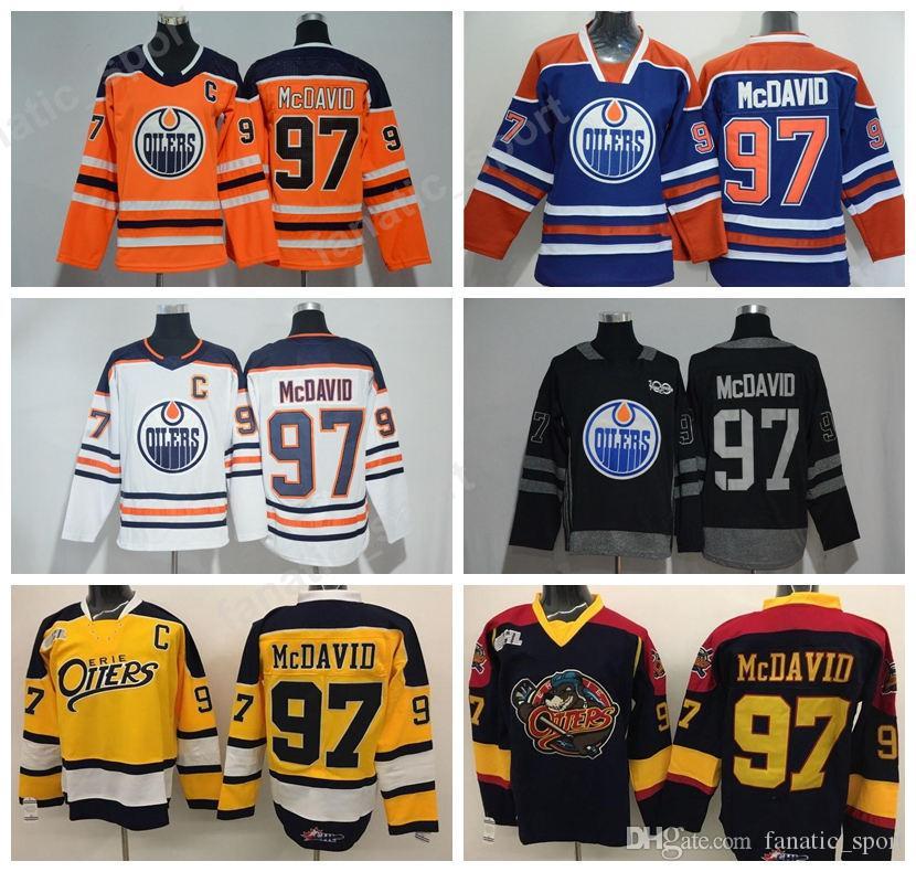 2018 New 97 Connor McDavid Jersey Men Edmonton Oilers Ice Hockey Jerseys  McDavid Uniforms Orange White Black Green Blue UK 2019 From Fanatic sport 6768075c2fa