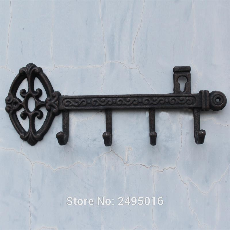 Discount Cast Iron Skeleton Key Rack Holder Wall Decoration With 4