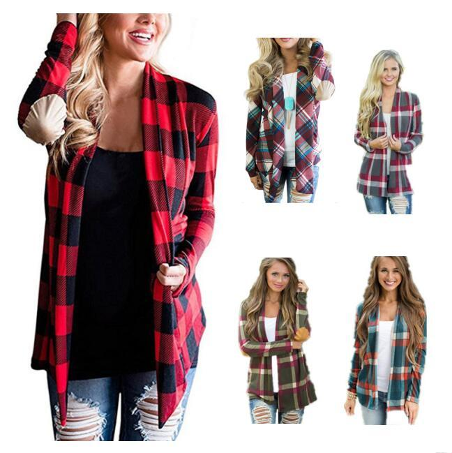 f5cec5b68b0 Fashion Plus Size Women s Jacket Open Stitch Plaid Long Sleeve ...