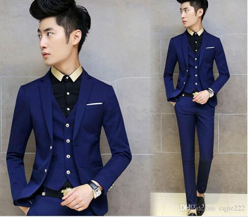 2018 New Arrivals Two Buttons Royal Blue Groom Tuxedos Notch Lapel Groomsmen Men Wedding Tuxedos Dinner Prom Suits Jacket+Pants+Vest