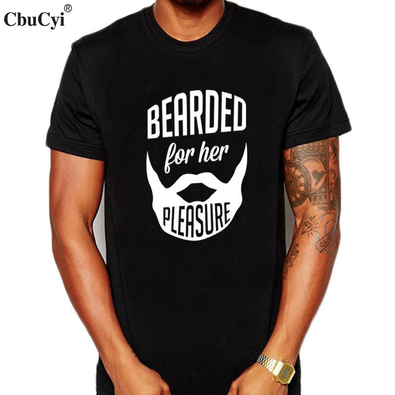 9fe2b8f96 Bearded For Her Pleasure Funny Beard T Shirt Fashion Printed Short Sleeve T-shirt  Men's Black White Tee Shirt Homme