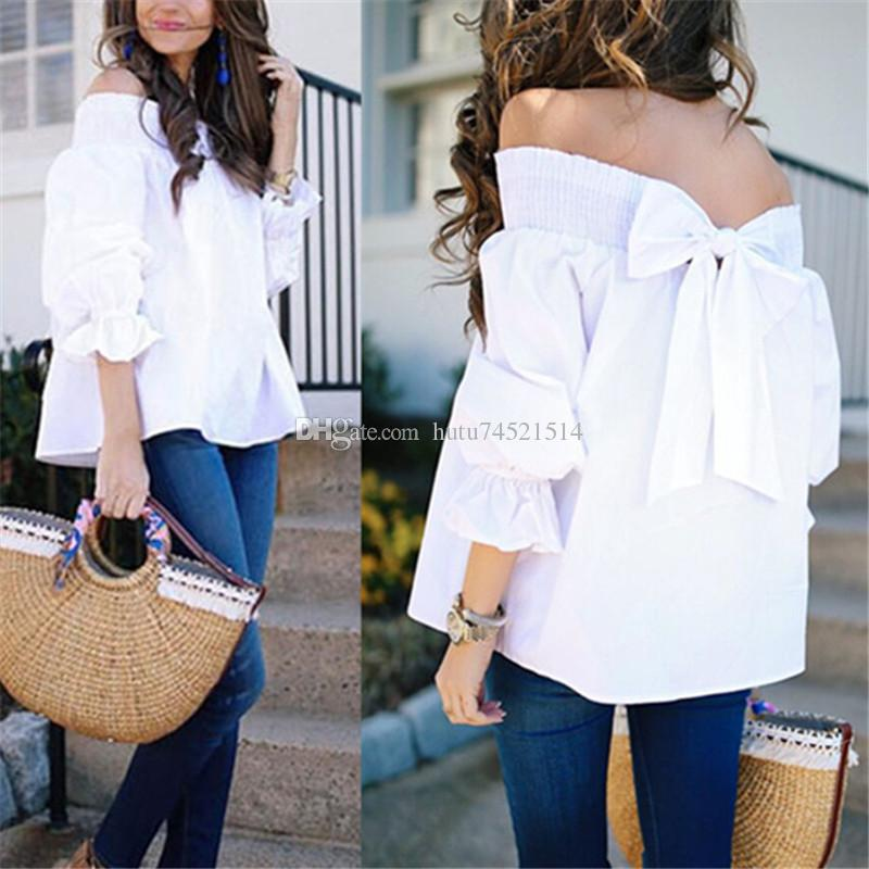 f3e43dfb 2018 Sexy Off Shoulder Spring Summer Strapless Women Blouse Bowknot Tops  Slash Neck Shirts Casual Loose Blusas Plus Size Cool T Shirts Buy Online  Raid Shirt ...