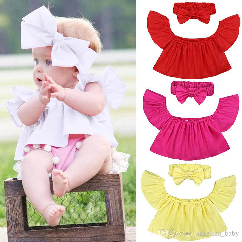 f14ac1540516 Girls Off Shoulder Tops Summer Baby Solid Color Shirts + Headbands ...