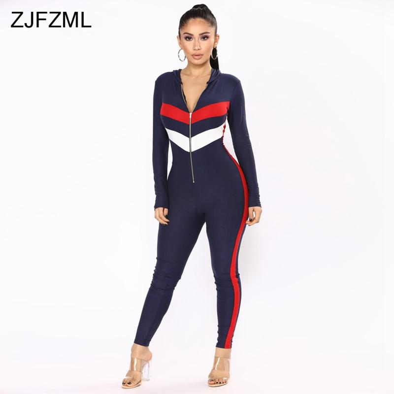 b3f4a0129c48 2019 ZJFZML Contast Color Sexy Skinny Jumpsuit Women Long Sleeve Deep V Neck  Bodycon Romper Retro Front Zipper Hooded Party Catsuit From Morph1ne
