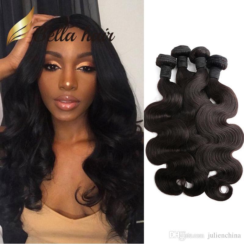 Bella Hair® Günstigste / Körperwelle Brasilianische Haarverlängerungen 7A Menschenhaar, das weiches Spenderhaar spinnt, bündelt US freies Verschiffen