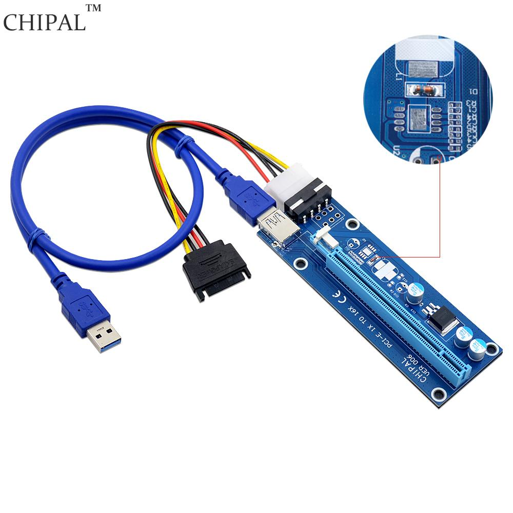 CHIPAL 60CM Voltage Stabilizer PCI Express Cable PCI E 1X To 16X Riser Card  Extender USB Cable Molex Power Cord For Miner Cheap Computer Cables Pc  Power ...