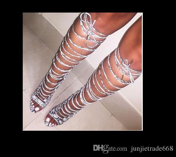 2018 hohe Qualität europäischen Grand Frauen vorbereitet Mesh-Thread leere Bühne Catwalk Stiefel aus echtem Leder hochhackigen Sandalen