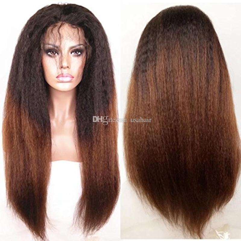 Virgin Brazilian Human Hair Lace Front Wig Heavy Yaki Straight 1BT#30 Ombre Kinky Straight Full Lace Wig