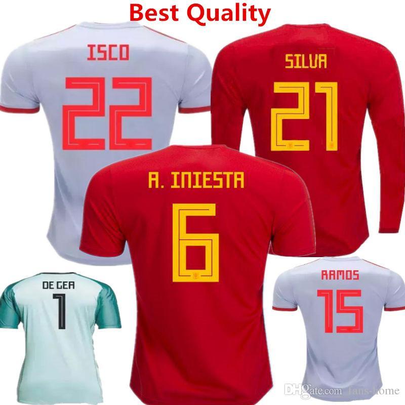25642eebc9d44 España Soccer Jersey ISCO ASENSIO De Futbol 2018 Copa Del Mundo Espana Home  Red Uniformes Fabregas Iniesta Silva Romas Moratta Camiseta De Manga Larga  Por ...