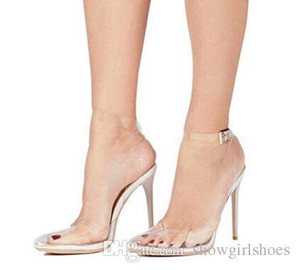 d836e34626 Compre Sandalias De Verano Mujer 2018 Sandalias De Tiras De Tobillo Zapatos  Transparentes Tacones Finos Sexy Zapatos De Mujer Súper Alta 8 Cm De Alto A  ...