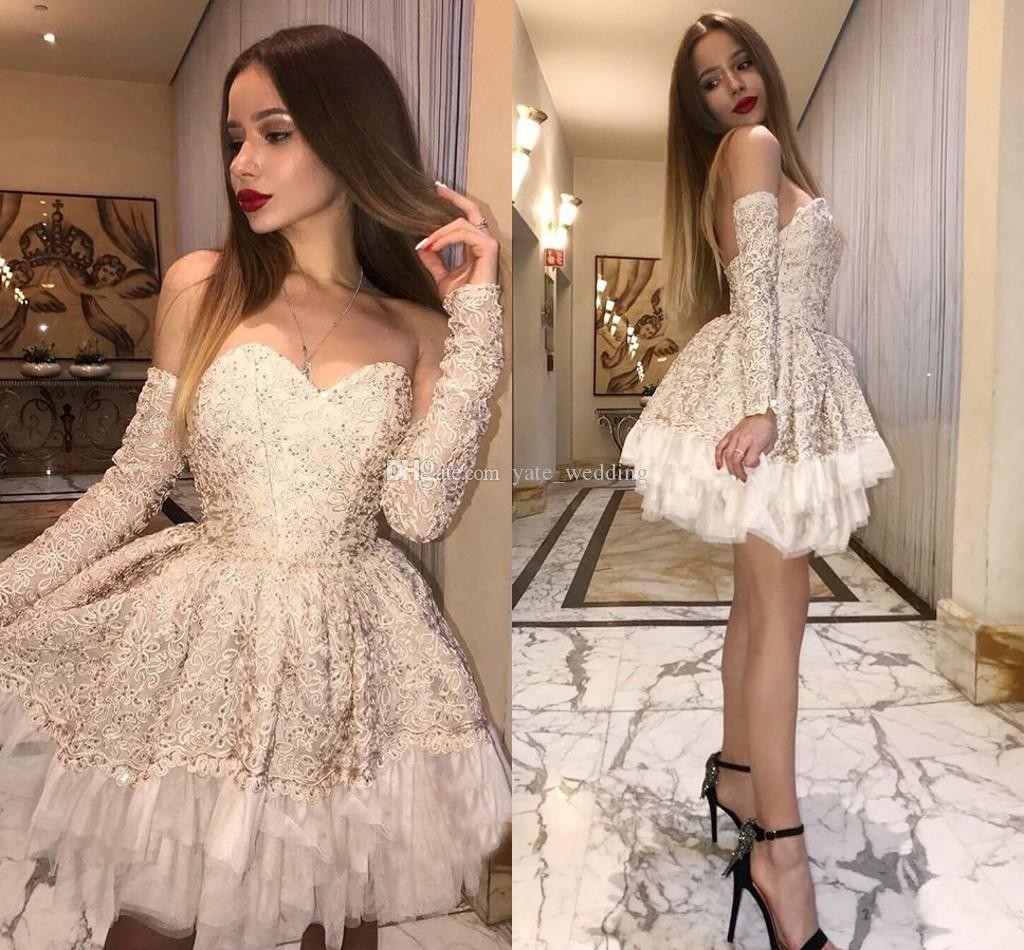 7aeceba137c 2018 Sexy Lace Short Prom Dresses Sweetheart Long Sleeves Backless Tutu  Champagne Short Party Dresses Custom Made Prom Dress Websites White Prom  Dress From ...