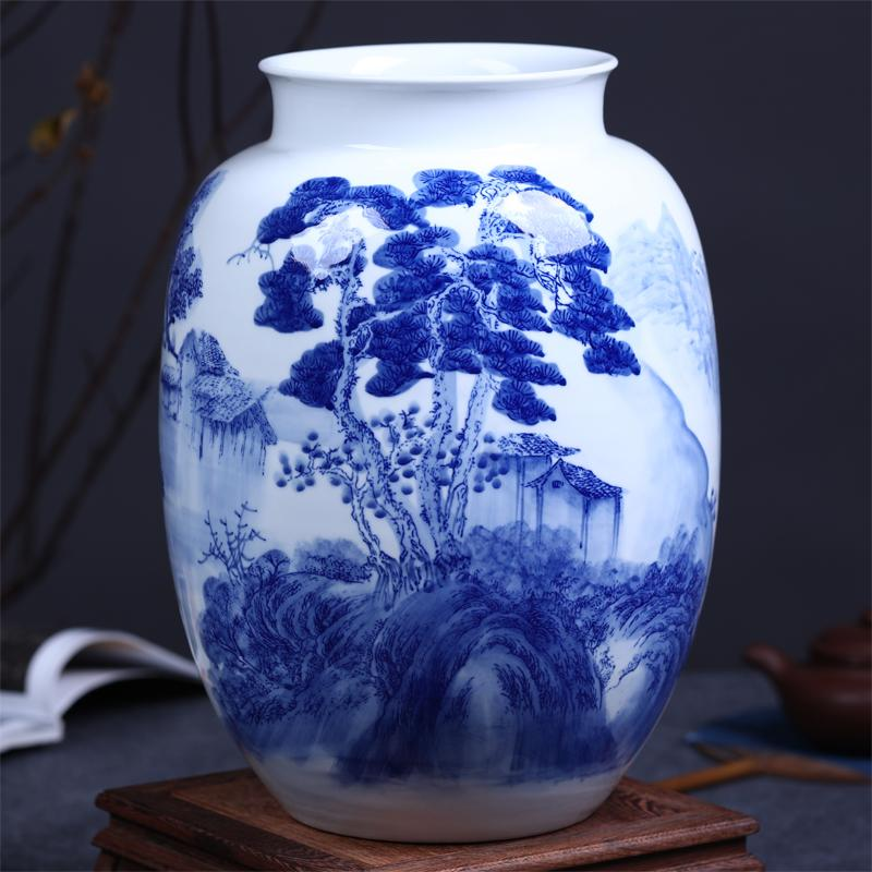 Blue and white porcelain painted flowers of modern chinese landscape blue and white porcelain painted flowers of modern chinese landscape home furnishing living room decoration decoration decor vase decor vases from anzhuhua mightylinksfo