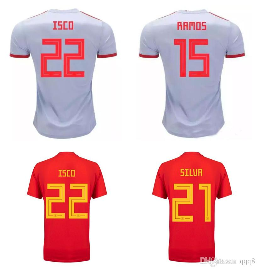 5059f82eac8 2019 2018 World Cup Spain Home Away Soccer Jersey Spain Football Uniforms  Shirt 22 ISCO 6 A.INIESTA 20 ASENSIO 19 Diego Costa RAMOS Saúl 21 SILVA  From Qqq8, ...