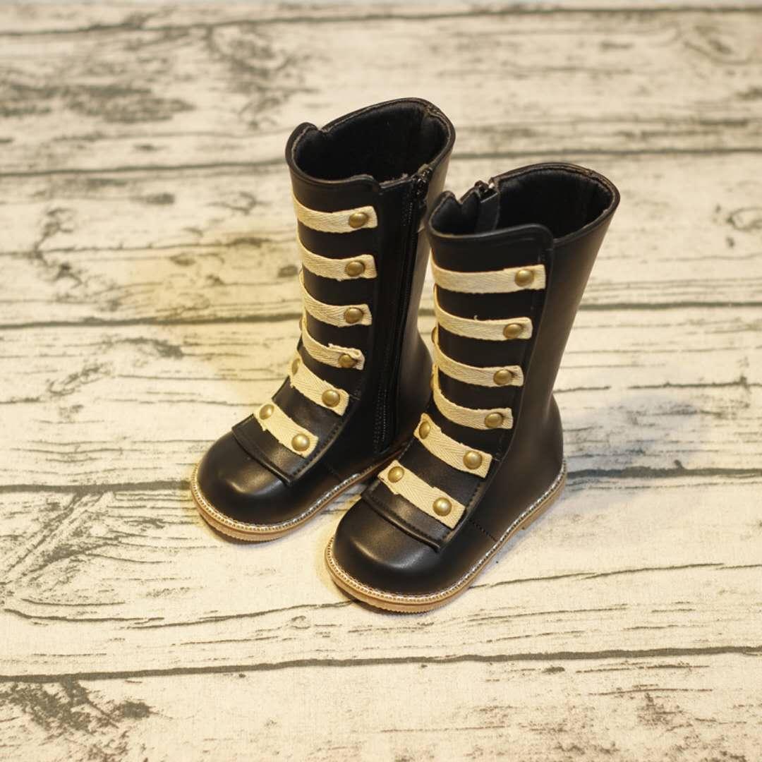 d5f140919fac8 Acheter Enfant Mode Hiver Chaussures Nouvelle Arrivée Fille Garçon Rivet  Bottes À Mi Mollet EU 21 30 Haute Qualité Automne Brown Bottes Garçon  Casual ...