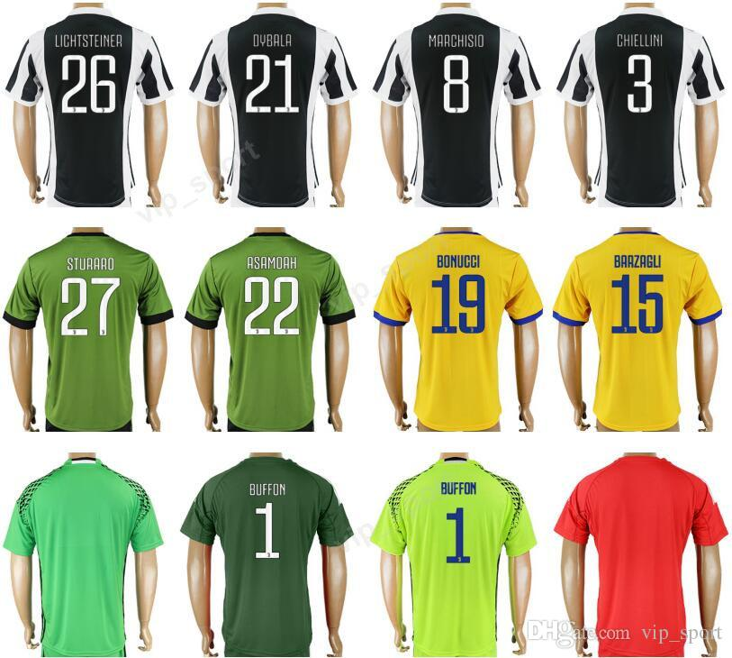 online store d052e 2d942 Thailand 10 DYBALA Soccer Jersey 8 MARCHISIO 3 CHIELLINI 15 BARZAGLI 19  BONUCCI 22 ASAMOAH 27 STURARO Football Shirt Uniform Kits Quality