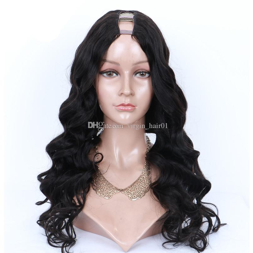 Virgin Hair Body Wave Middle Part U Part Human Hair Wigs For Black Women Brazilian Remy Hair 10-22 Inches Lace Wigs