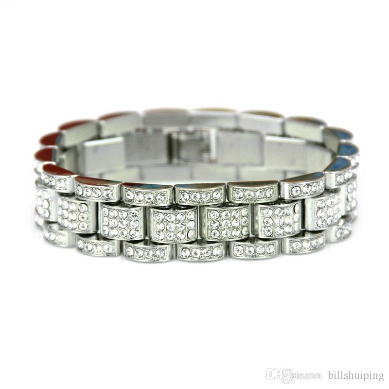 Solid Gold Silver Plated CUBAN LINK Shiny Diamond Bracelets Hip Hop Bling Fashion Jewelry Hipster Men Wristband Bangle