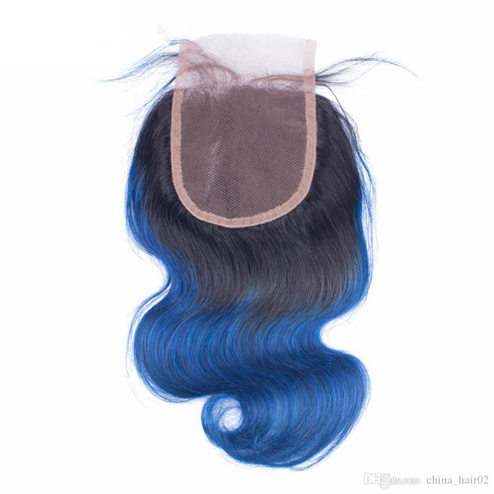 # 1B/синий Ombre Виргинские перуанские человеческие волосы плетения пучки с закрытием тела волна Ombre синий 4x4 кружева закрытия с ткет расширения
