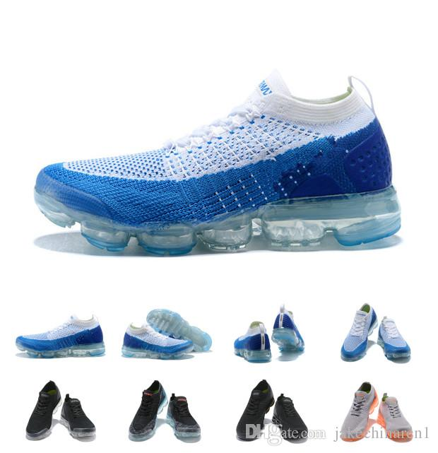 2018 Vapormax 2 Running Shoes For Man Women Tpu Blue White Trainers Sneakers Knitting Athletic Sports Shoes Runner Hiking Walking Shoes buy cheap top quality YpcfBqh0s2