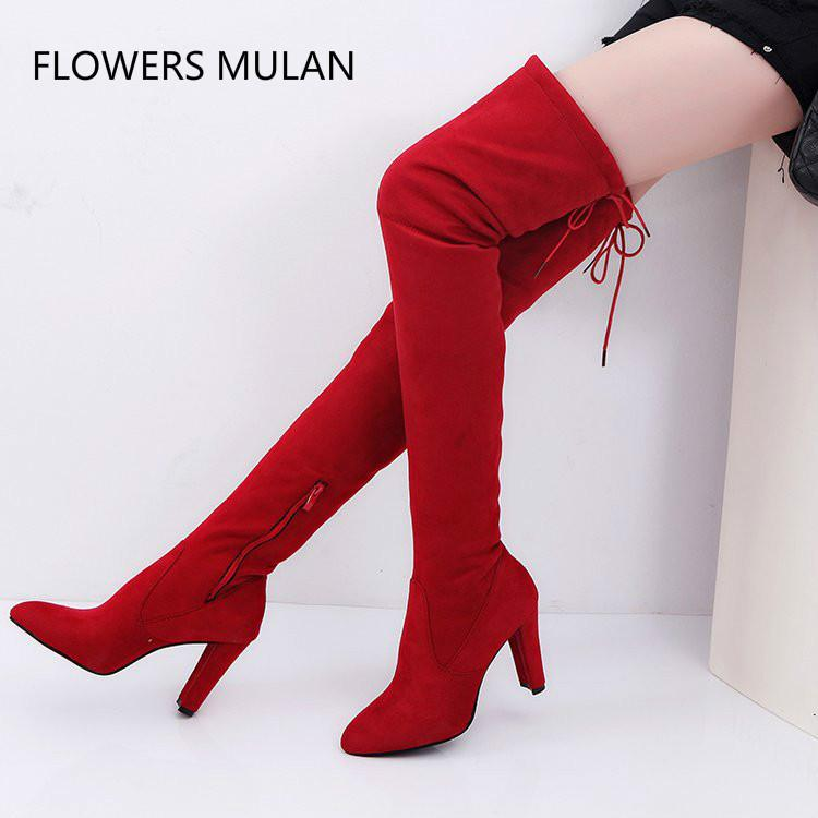 0a51d3a732c 2018 New Winter Red Black Suede Boots Women Pointed Toe High Square Heel  Side Zip Thigh High Boots For Girl Back Lace Up Shoes Winter Boots Over The  Knee ...